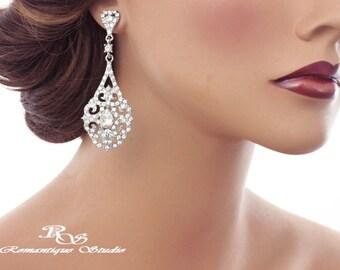 Art deco bridal earrings crystal earrings vintage style wedding earrings statement earrings rhinestone earrings bridal jewelry 1309