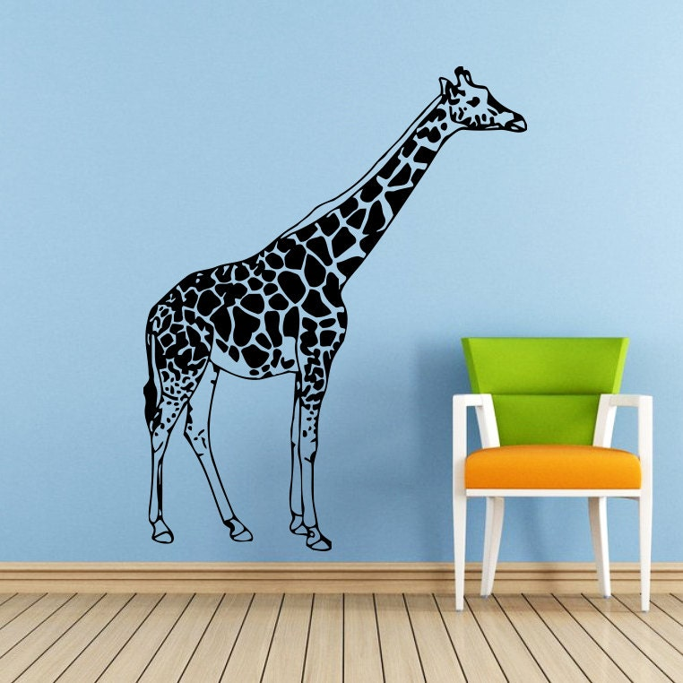wall decals giraffe animals jungle safari by supervinyldecal. Black Bedroom Furniture Sets. Home Design Ideas