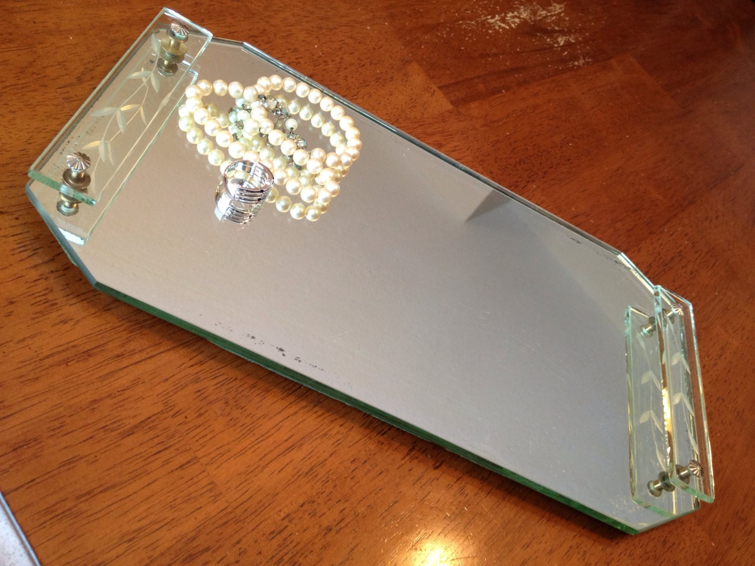Vintage Jewelry Tray Antique Mirrored Tray Vintage Perfume