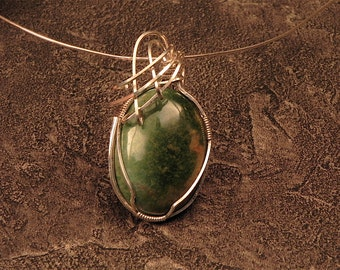 African jade wire wrapped cabochon