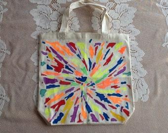 Multi colored 13.5 x 13.5 x 3.5 canvas tote bag