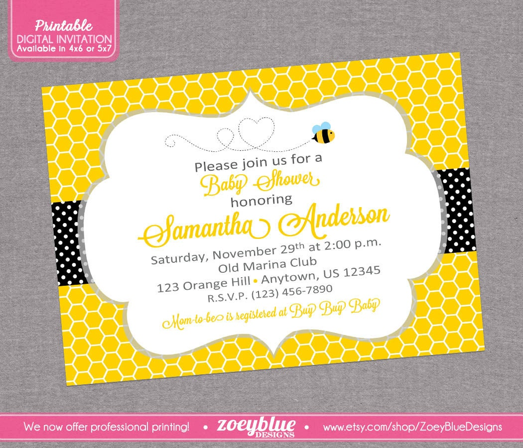 bumble bee bumblebee baby shower printable by zoeybluedesigns
