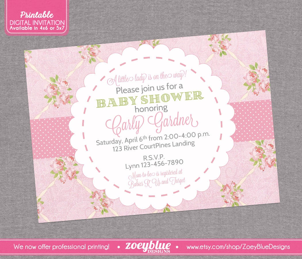 shabby chic baby shower invitation vintage by zoeybluedesigns