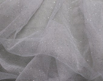 100% French silk tulle with Swarovski glitter priced per half yard - 1/2 yard