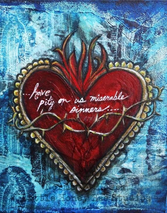 sacred heart art print religious art spiritual art