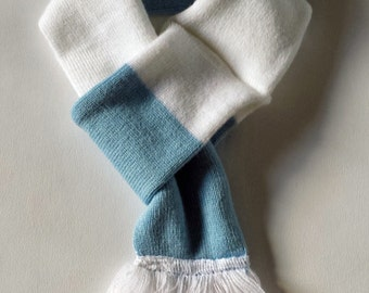 Dog scarf - football, soccer, light blue and white stripe