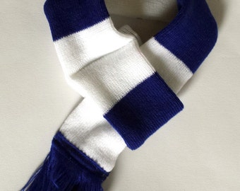 Dog scarf - football, soccer, blue and white stripe