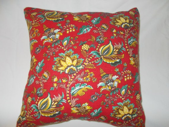 Set of two red Jacobean style throw pillows size 16x16