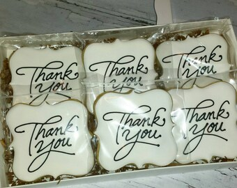 Decorated Thank You Sugar Cookies