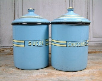 Vintage ART DECO french enamel kitchen canisters in baby blue with pale yellow and black trim.