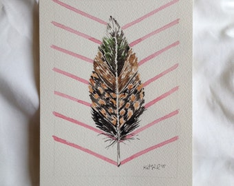 Original Feather Watercolor Painting// Pink