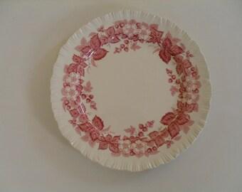 Wedgwood Dessert or Salad Plate Red Floral Design Bramble of Ethruria & Barlaston Made in England