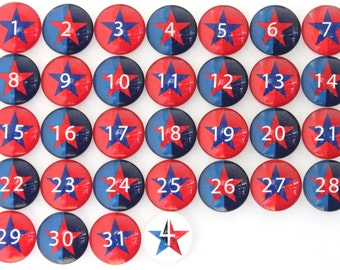 CLEARANCE!  Number Magnets -  Stars - patriotic - 4th of July!