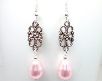 Light rose pink swarovski elements pearl pear drop earrings, wedding jewelry, bridal jewellery, bridesmaid, rosaline teardrop, ER021