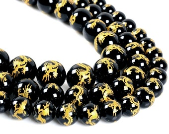 """Carved black agate dragon round spacer loose beads 15.5""""  10mm 12mm 14mm"""