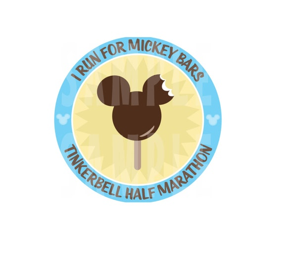 INSTANT DOWNLOAD Run Disney I Run For Mickey Bars Marathon Training or Event T-Shirt Iron-On Printable Tinkerbell Half Marathon JPEG
