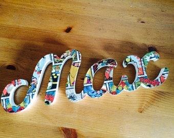 Marvel wooden childrens name decoration