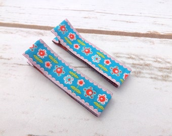 Farbenmix girls hair clips, hair accessories, set of hair clips - pink, blue and white flower farbenmix ribbon