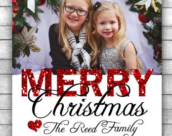 DIY PRINTABLE Christmas Card with Red Glitter - Print at Home Christmas Card Printable Christmas Photo Card