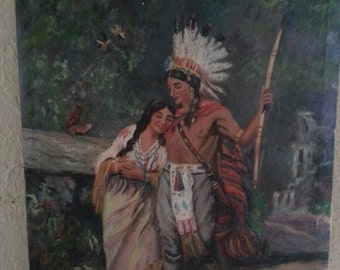 Vintage Painting of Young  Native American Indian  Couple