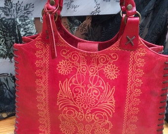Vintage red tooled leather rustic laura ashley handbag