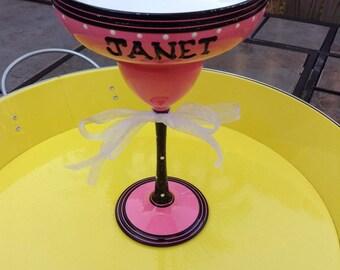 Hand Painted Margarita Glass • Personalized Margarita Glass