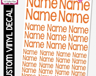 VINYL DECAL: Full Sheet of Single Name in 3 Sizes