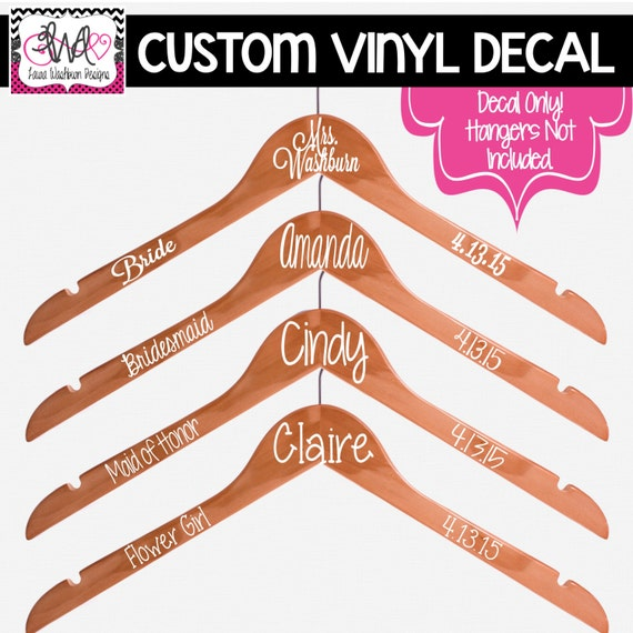 VINYL DECAL DIY Name Date And Title For Wedding Hangers - Diy vinyl wedding hangers