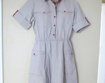 vintage gray & maroon pocket diner dress