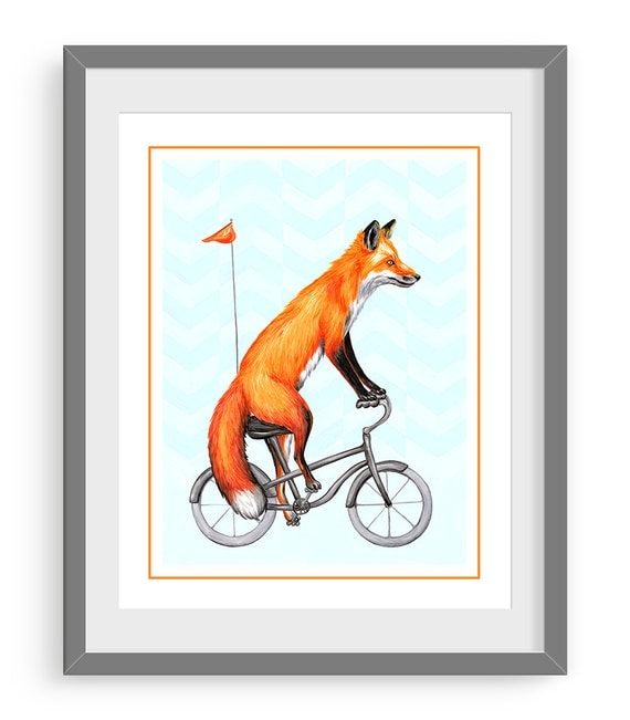 Fox on bicycle cycling fox print 5 x 7 8 x 10 and by for 11x14 paper size