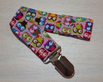 Pacifier Clip - Pink Owls