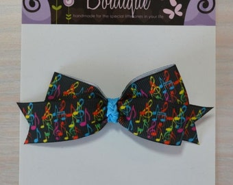 Boutique Style Hair Bow - Black w/ Music Notes