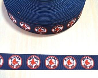 7/8 inch Grosgrain Ribbon - Boston Red Sox