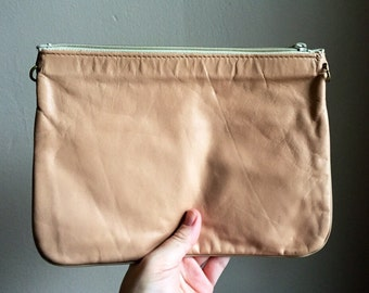 Vintage Blush/Beige Leather Clutch