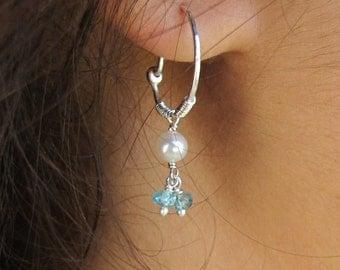 Hoop Earrings. Handmade Sterling Silver earrings set with Apatite and Pearl gemstone beads. Delicate hoops earrings. Light Blue gemstones