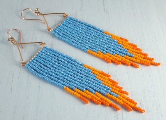Blue Flame Long Beaded Earrings - Light Blue and Orange Beaded Fringe Earrings - Jewelry Gift for Her