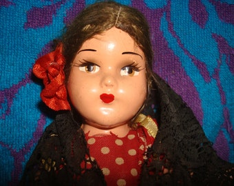 8 inch Hard Plastic Spanish Dancer 1950's ?