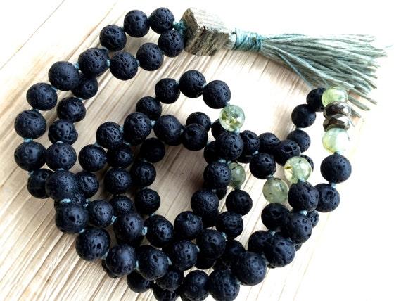 Black Lava (Basalt) Mala Beads,  Hematite. Prehnite. Pyrite, Root Chakra Mala, Protection, Grounding, Unisex Mala Beads, Boho Mala Beads