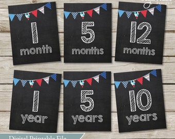 Monthly Baby Chalkboard Photo Prop Signs - Months 1 - 12 - Years 1 - 10 - INSTANT DOWNLOAD // Baby boy