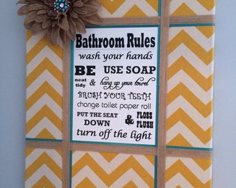 Bathroom Rules Sign, Canvas Wall Art