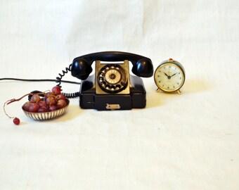 SALE Vintage Rotary Telephone Black Bakelite phone Soviet Vintage USSR 1950 Industrial Office supply movie requisite Steampunk