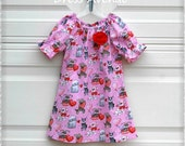 Valentine's day dress**Pink dress**Toddler girl dress**Dress with dogs, puppies, doggies, hearts, balloons, xoxo**Handmade dress