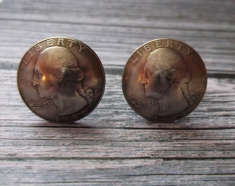 Domed US Quarter Coin Cuff Links - United States Domed Coin Cuff Links