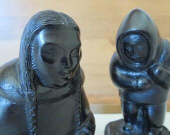 Vintage Inuit carvings /2 vintage Inuit sculptures / Inuit art figurines/ Eskimo carvings /Eskimo sculptures / decor figurines/ Gift ideas