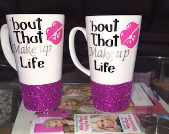 Pink glitter dipped Personalized Make up mugs