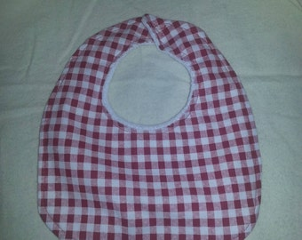 Handmade Small Red White Gingham Baby Bib Cotton Terry Cloth