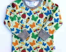 ORGANIC kids clothes. Girls Bugs Tee/ Boys Long Sleeve Shirt. Insects Toddler top. Ladybug clothes. Bees, Butterfly, Dragonfly Baby shirt.