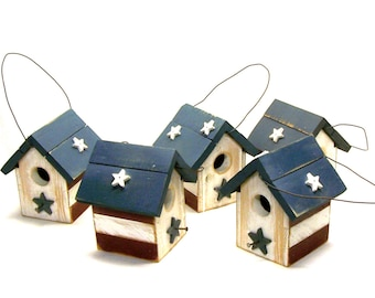 Patriotic Stars and Stripes Petite Red White Blue Rustic Bird House Small Birdhouse