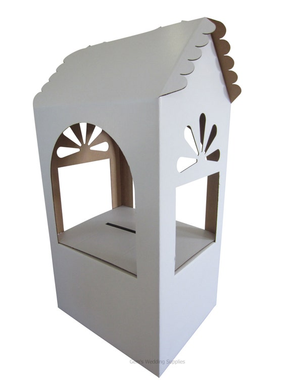 White Cardboard Wishing Well Money Card Box By GemsWeddingSupplies