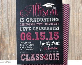 Graduation Invitation, Graduation Invitation Chalkboard Double Sided, Custom College Color and Sign Announcement, DIY